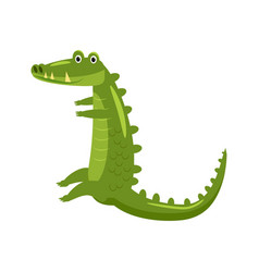 Cute crocodile reptile green funny aligator vector