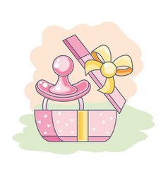 Cute pacifier bain gift box present vector