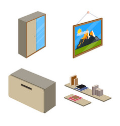 design of bedroom and room symbol set of vector image