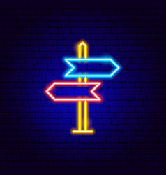 Direction sign neon sign vector