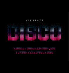 Disco dotted halftoned display font design vector
