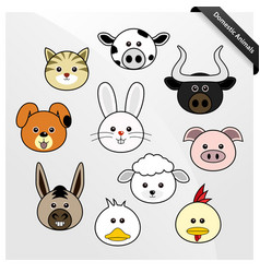 domestic animal cute cartoon a set cute vector image