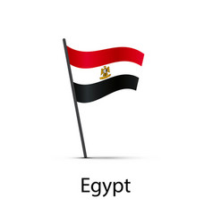 egypt flag on pole infographic element on white vector image