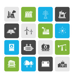 Energy producing industry and resources icons vector