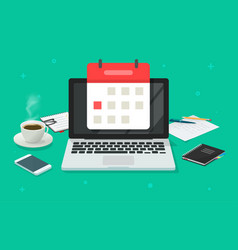 event planning on calendar date on laptop computer vector image