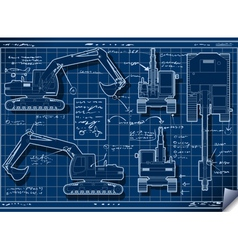 Excavator Blue Project in Five Orthogonal Views vector