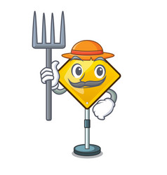 Farmer harm warning sign shaped on cartoon vector