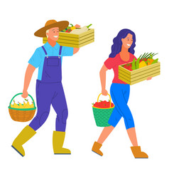 Farmers carrying basket full fresh vegetables vector