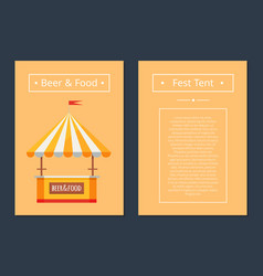 Fest tent with beer and food collection posters vector