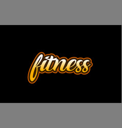 Fitness word text banner postcard logo icon vector