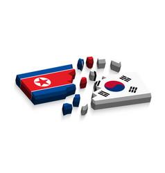 flag north korea and south korea 3d vector image