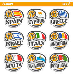 flags of european national basketball teams vector image