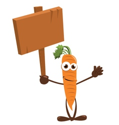 Funny Carrot holding a Sign vector image vector image