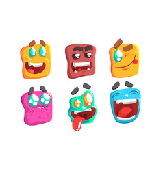 Funny colorful monsters set slime cartoon vector