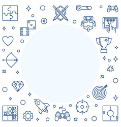 Gamer concept frame in thin line style vector