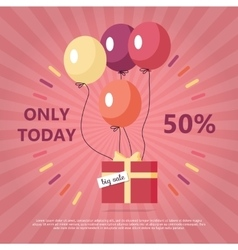Gift Box with Text Big Sale Flying on Balloon vector image