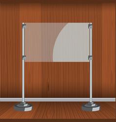 Glass screen with metal racks flat color design vector