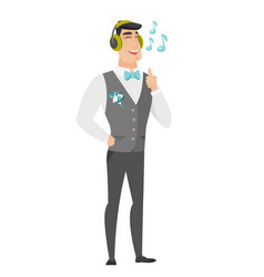 Groom listening to music in headphones vector