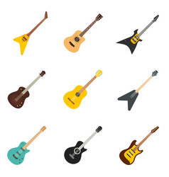 Guitar icons set flat style vector