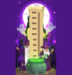 Halloween kids height chart with wizards ghosts vector