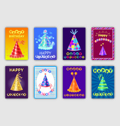 happy birthday banners set vector image