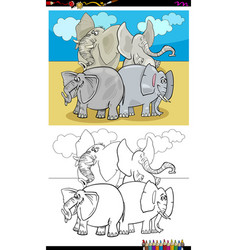 happy elephants characters group color book vector image