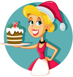 happy female home cook holding christmas cake vector image