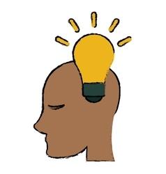 Head human new idea bulb sketch vector