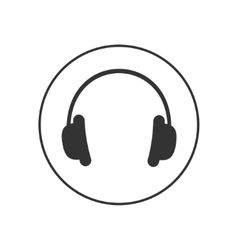 Headphones earphones with line round circle Music vector