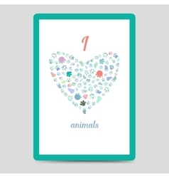 Heart from animal footprints card vector