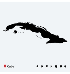 High detailed map of Cuba with navigation pins vector image