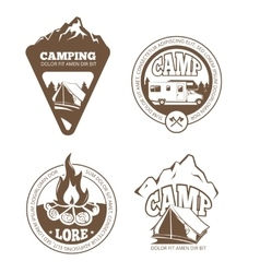 Hiking and camping retro labels emblems vector image