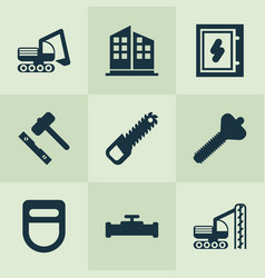 industrial icons set with electrical board sawing vector image
