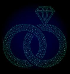 jewelry wedding rings polygonal frame mesh vector image