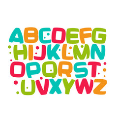 Kids alphabet colorful cartoon font kid letters vector