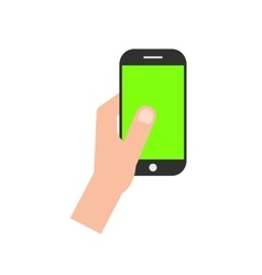 Left hand holding smartphone with green screen vector