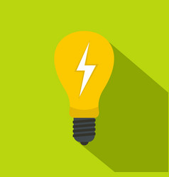 light bulb with lightning inside icon flat style vector image