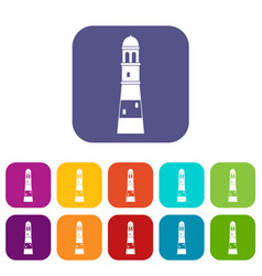 lighthouse icons set flat vector image