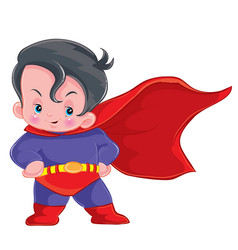 Little cute baby dressed in superman costume vector