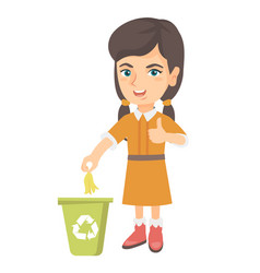 Little girl throwing banana peel in recycling bin vector