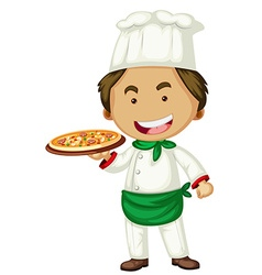 Male chef serving pizza vector