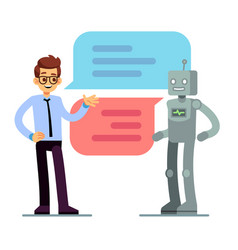 Man chatting and asking for help bot chatbot vector