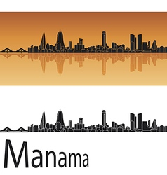 Manama skyline in orange background vector