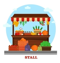Market bazaar stall or food counter vector