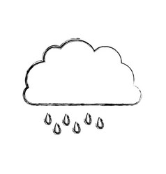 Monochrome blurred contour of cloud with drizzle vector