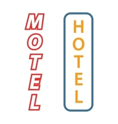 Neon sign with the word hotel motel signboard vector image
