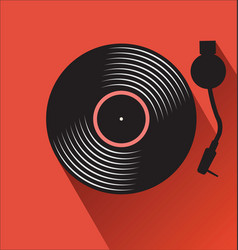 Old vinyl record and turntable on a red background vector