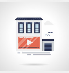 Outdoor video advertising flat color icon vector