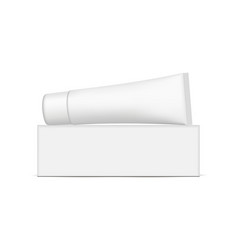 Paper box with plastic tube mockup isolated vector