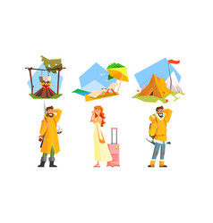 people traveling set active travel man hiking vector image
